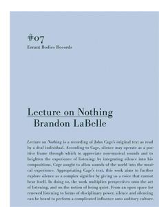 Brandon LaBelle - Lecture on Nothing (CD)