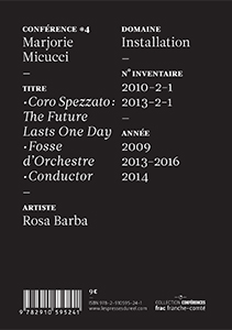Marjorie Micucci - Rosa Barba - Coro Spezzato : The Future Lasts One Day – Fosse d\'Orchestre – Conductor