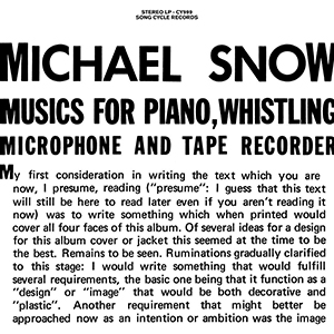 Michael Snow - Music For Piano, Whistling, Microphone And Tape Recorder (2 vinyl LP)